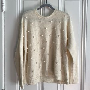 Madewell White Puff Sweater Size Medium